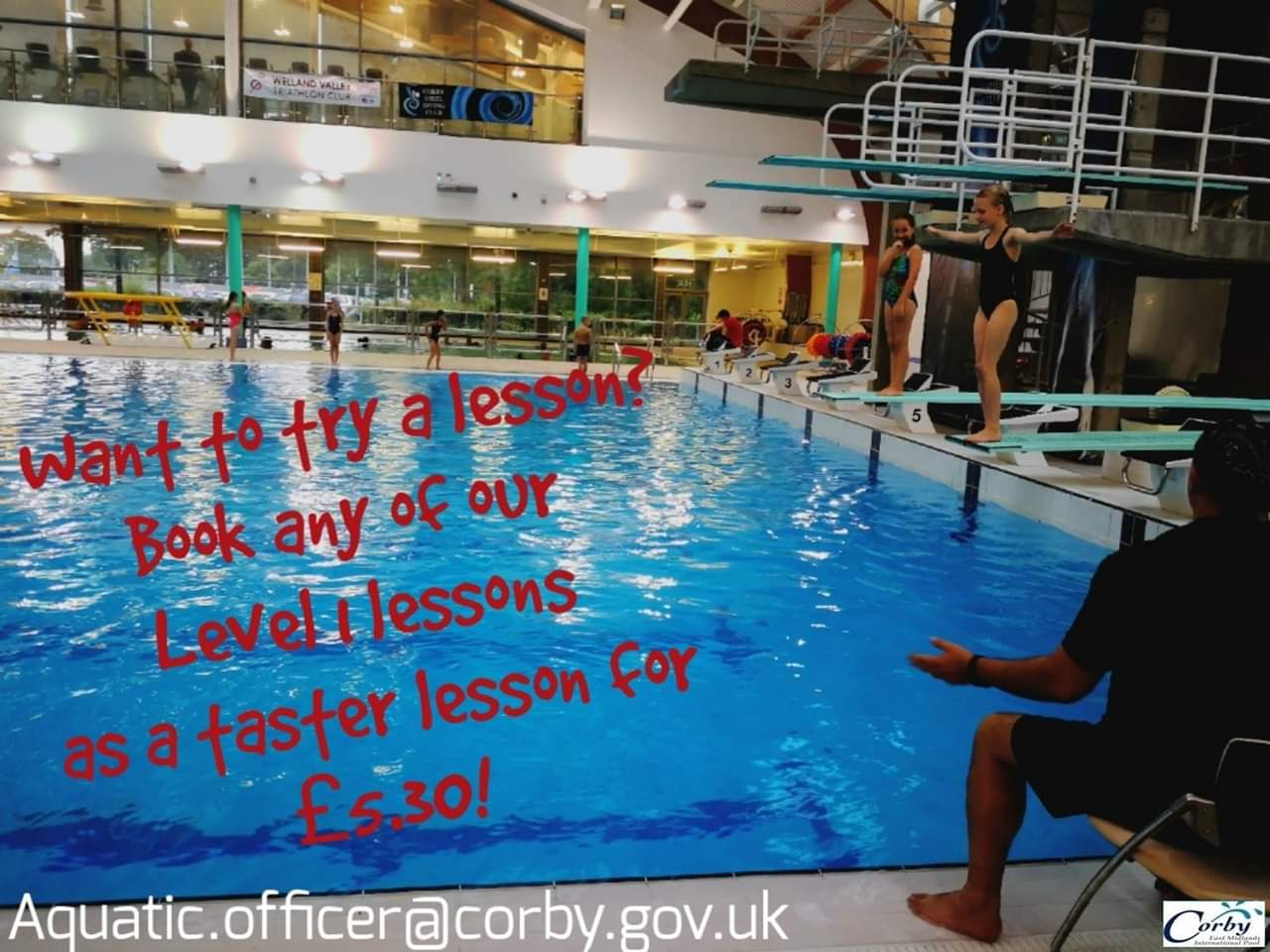 Corby Borough Council run a variety of diving lessons from Corby East Midlands International Pool.